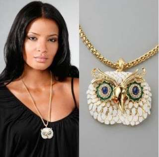 4508 New Fashion Jewelry White Crystal Owl Pendant Necklace Chain