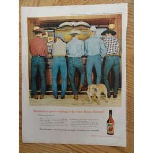 1959 Four Roses Whiskey (men standing at old west bar) magazine print
