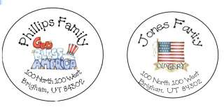 4th Fourth of July Round Return Address Labels Gift Tag
