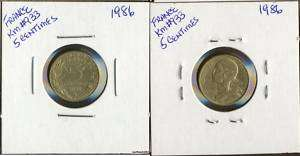 Foreign Coins France 1986 KM#933 5 Centimes