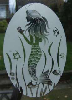 21x33 MERMAID Etched Glass Window Decal Vinyl Cling