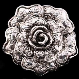 Tibet silver twist flower rose bead adjustable ring VTG