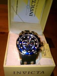 NWT INVICTA #6983 Pro Diver Collection Chronograph Gold Plated Blue