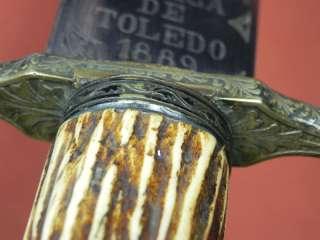 Spanish Spain Toledo pre WW1 Fancy Hunting Dagger Knife w/ Sheath