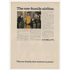 1968 Delta Airlines The One Family Airline Print Ad (23926