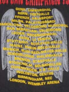ORIGINAL SLAYER EUROPEAN CAMPAIGN 1990 TOUR T SHIRT vtg concert thrash