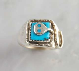 Effie Calavaza Silver Turquoise Snake Mens Ring Native American Zuni