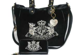 NWT JUICY COUTURE Black Scottie Embroidery W Heart Charm Large Bag