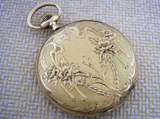 SERAPH ANTIQUE 1900s SWISS UNIQUE ART DECO SOLID GOLD 14K POCKET WATCH