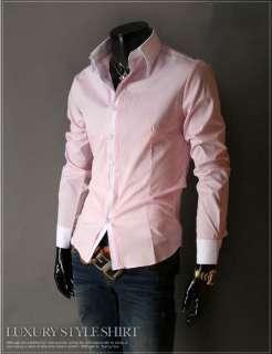 Mens Slim Fit Dress Shirt Hemd White Collar XS M BL1