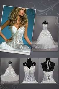 New Pageant White Ivory Lace Satin A line Wedding Dress Bridal Gown