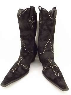 cowboys boots black studded cross vegan Roper Rockstar 9 M western