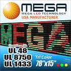UL 3COLOR LED DISPLAY SIGN MESSAGE BOARD 78 X 15
