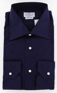 New $410 Truzzi Navy Blue Shirt 17.5/44