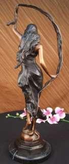 Signed Moreau Woman Dancing for an Angel Bronze Statue Sculpture