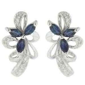 14K White Gold Blue Sapphire Diamond Earrings Diamond quality AA (I1