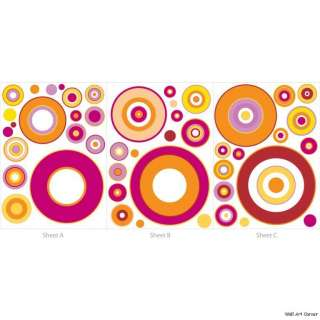 Pink Retro Circles Wall Sticker Decal for boys/girls