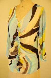 NWOT I.E. BOHO CHIC RUFFLE FRONT ABSTRACT TOP SMALL