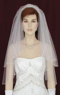 2Tier White/Ivory Elbow Wedding Bridal Veil Crystal s18