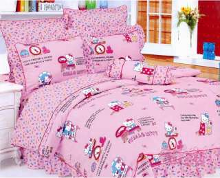 Cotton Hello Kitty bed quilt cover sheet set bedspread 4pcs