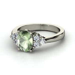 Emily Ring, Oval Green Amethyst 14K White Gold Ring with