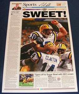NICK SABAN SIGNED 2001 ADVOCATE LSU SEC CHAMPS POSTER