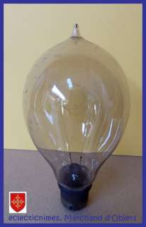 French 1900s ANTIQUE Triple Loop Carbon Filament Edison Light Bulb