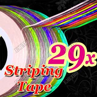 29 Colors Self Adhesive Rolls Striping Tapes for Nail Art UV Gel Tips