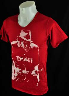 Neck Red TOM WAITS Retro Punk Rock Tee T Shirt Size M