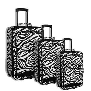 NEW BLACK ZEBRA 3 Piece Rolling Luggage Set Suitcase Travel