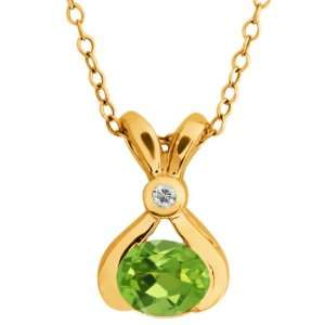 0.84 Ct Oval Green Peridot and Topaz Gold Plated Sterling