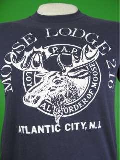 Vtg 80s MOOSE LODGE T SHIRT ATLANTIC CITY NEW JERSEY M
