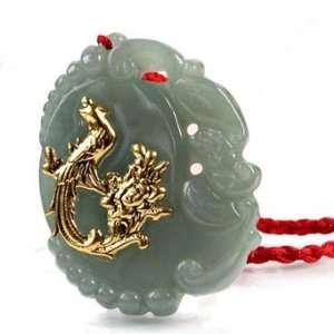 24K Gold Phoenix Jadeite Jade Pendant Necklace(With Certificate