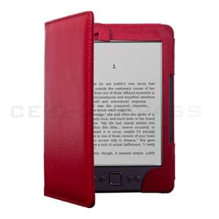 Kindle 4 4TH 4 Gen LED Light Lighted Leather Case Cover Red
