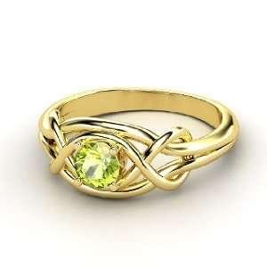 Infinity Knot Ring, Round Peridot 14K Yellow Gold Ring