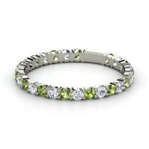 Rich & Thin Band, 14K White Gold Ring with Green Tourmaline & Diamond