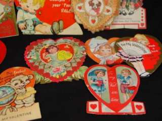 10 Vintage Antique Valentines Day Greeting Cards Lot Heart Shaped Die