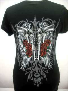 WOMEN PISTOLS W/ ANGEL WINGS & ROSES RHINESTONE T SHIRT