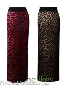 Womens Ladies Animal Leopard Print Gypsy Long Jersey Maxi Dress Skirt