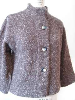 Giannetti Brown Tweed Wool & Acrylic Blend Button Sweater Jacket