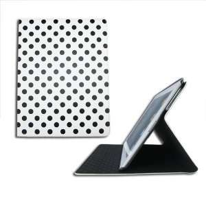 HK White with black POLKA DOTS Point PU Leather Smart Flip