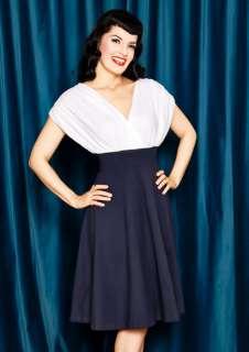 CLOTHING ROCKABILLY PINUP SAILOR GIRL NVY BLUE & WHITE DRESS LARGE