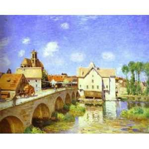 Oil Painting The Bridge at Moret Alfred Sisley Hand