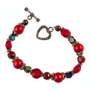 Bracelet   B29   Handmade Fire Polish, Glass and Pearl Beads   Round