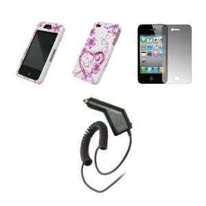 Apple iPhone 4   Premium Pink and White Love Hearts and