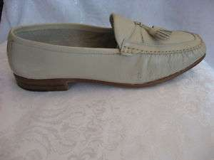 Johnston & Murphy Mens Shoes Italy Leather Beige Stone Moccasins Dress