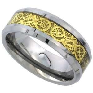 Tungsten Carbide 8 mm Flat Wedding Band Ring Gold Finish Celtic Dragon