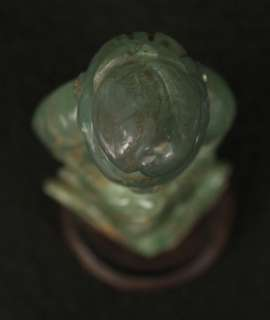 ANTIQUE CHINESE OLD HAND CARVED FLUORITE JADE GREEN STONE KWAN YIN