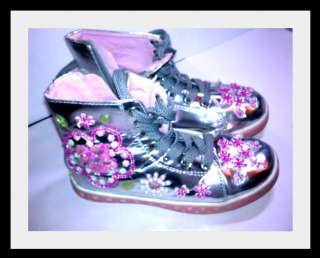 Girls Silver High Top Shoes Size 2 LAURA ASHLEY Worn Once