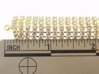 Austrian Crystal 5 Row Gold O/L Adjustable Choker q
